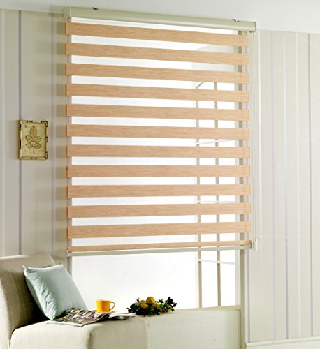 Horizontal Window Shade Blind Zebra Dual Roller Blinds White W 23 x H 64 Inch