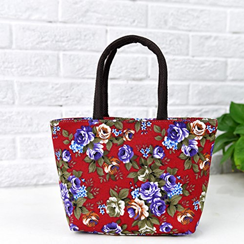 grandma mom stylish flower bag coloured Canvas hand Flyingsky durable bright Peony for Red x6qzvawgnE