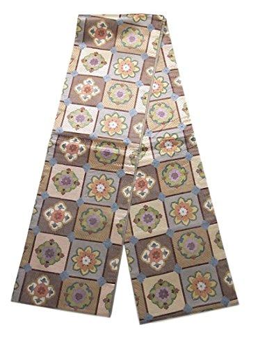 因子胃熟したリサイクル 全通 袋帯  紗刺し刺繍 格子に華文 正絹