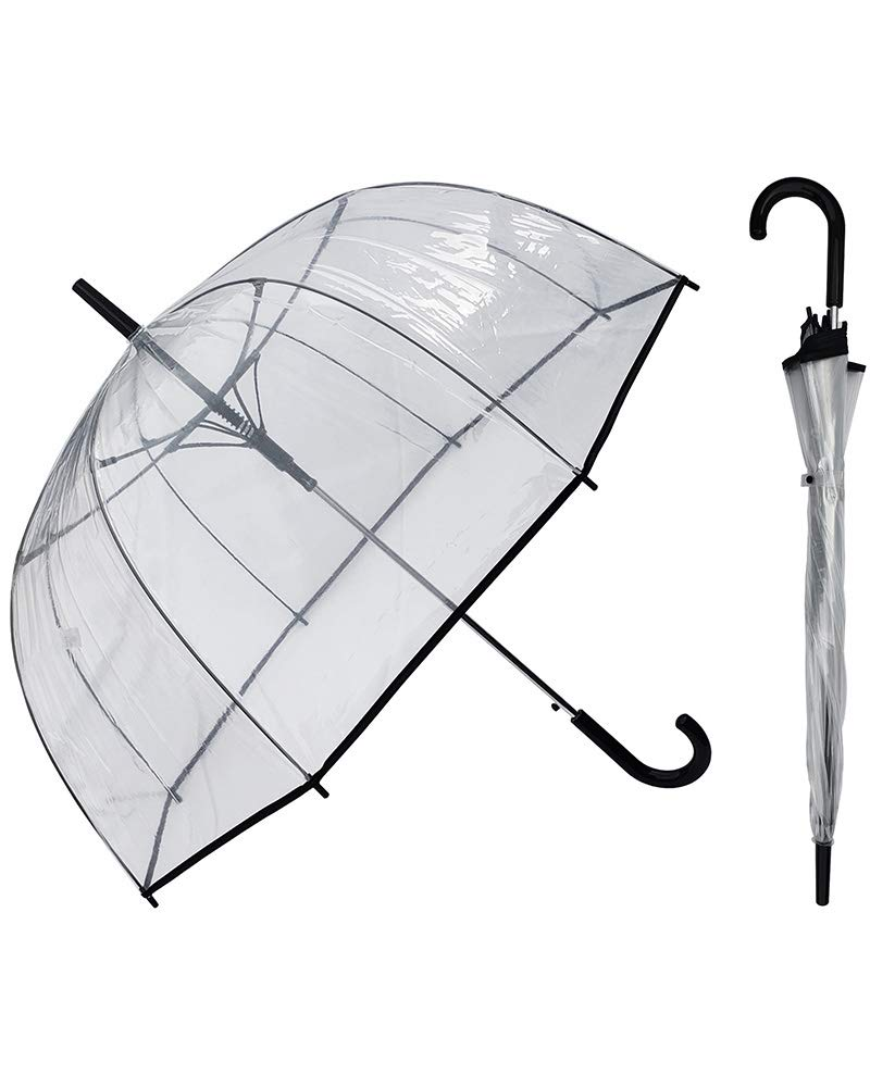 50 Inch Bubble Clear Auto Open Umbrella for Weddings, Bulk Large Adult Windproof Dome Rain Umbrella With Hook Handle & Black Trim - Pack of 6 Umbrellas