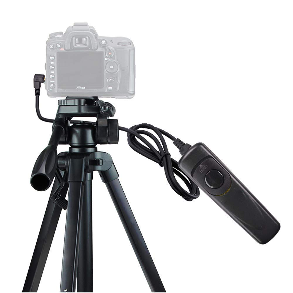 XHHWZB Camera Tripod, 59'' Compact Light Aluminium Tripod with Quick Release Plate, Ball Head and Carrying Bag for Travel for DSLR Canon (Size : Tripod+Wired Shutter)