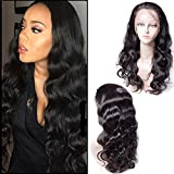 Maxine Natural Hairline 130% Density Human Hair Wigs Body Wave Brazilian Lace Front Wig With Baby Hair Bleached Knots Virgin Human Hair for Women with Adjustable Straps 18 inches