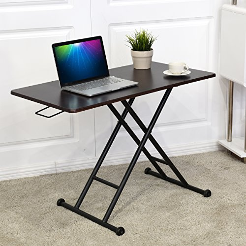 Tangkula Height-Adjustable Standing Desk Converter Raise Up Workstation Sit-Stand Folding Elevating Computer Laptop Notebook Desk W/ Removable Wheels by Tangkula