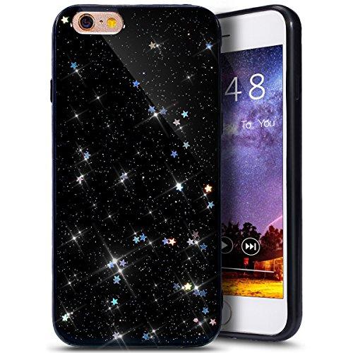 PHEZEN iPhone 6S Plus Case,iPhone 6/6S Plus Glitter TPU Case, Shiny Sparkle Star Flexible Soft Rubber Gel Black TPU Cases Silicone Back Case for iPhone 6/6S Plus 5.5