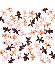 دمية أطفال بلاستيكية صغيرة مقاس 1 بوصة للأطفال من 180 قطعة لحفلات استقبال المولود، ديكورات الحفلات، حمام الأطفال والحرف اليدوية (بني داكن، لاتيني، وردي)