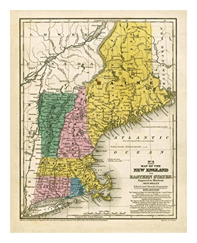 """Global Gallery """"Samuel Augustus Mitchell Map Of The New England Or Eastern States 1839"""" Unframed Giclee on Paper Print, 22"""" x 17 1/2"""" from Global Gallery"""