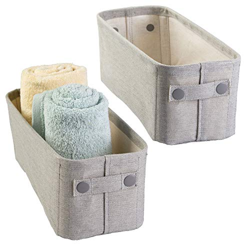 mDesign Soft Cotton Fabric Bathroom Storage Bin Basket with Coated Interior and Attached Handles - Organizer for Closets, Cabinets, Shelves - Textured Weave, Small 2 Pack - Light Gray