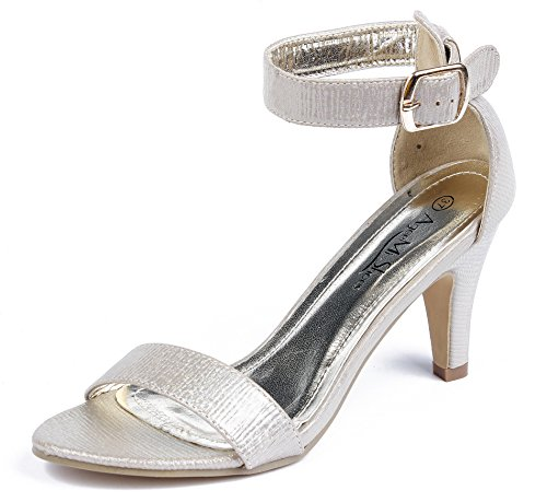 AgeeMi Shoes Mujeres Sandalias Tacón Alto Punta Abierta Elegante Verano Zapatos Gold