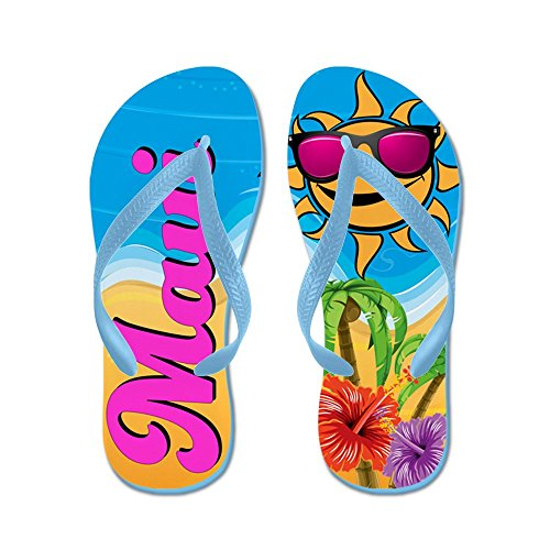 Cafepress Maui Hawaii Beach - Flip Flops, Roliga Rem Sandaler, Strand Sandaler Caribbean Blue