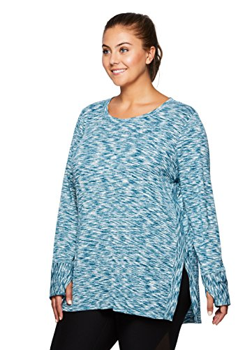 RBX Active Plus Size Long Sleeve Scoop Sweater Knit Tunic Blue 1X Review