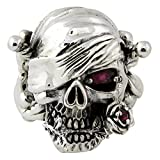 Red Simulated Garnet Cubic Zirconia Decaying Joy Skull Ring Sterling Silver 925 Size 6