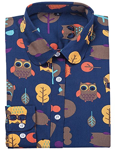 Plaid Owl - DOKKIA Women's Fashion Tops Feminine Long Sleeve Button Down Work Casual Dress Blouses Shirts (Large, Navy Blue Owl Bird)