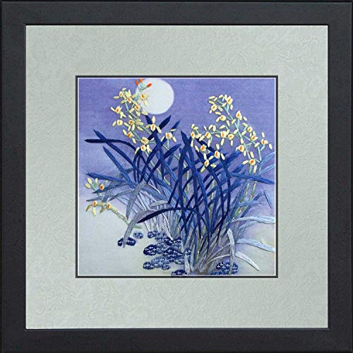 King Silk Art 100% Handmade Embroidery Framed Yellow Orchids Blooming Shining Under The Blue Moon Super Moon Oriental Wall Hanging Art Asian Decoration Tapestry Artwork Picture Gifts