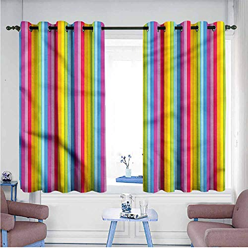 Mdxizc Kids Room Curtains Colorful Rainbow Colored Stripes Girl Room Blackout Curtain W55 xL63 Suitable for Bedroom,Living,Room,Study, etc.