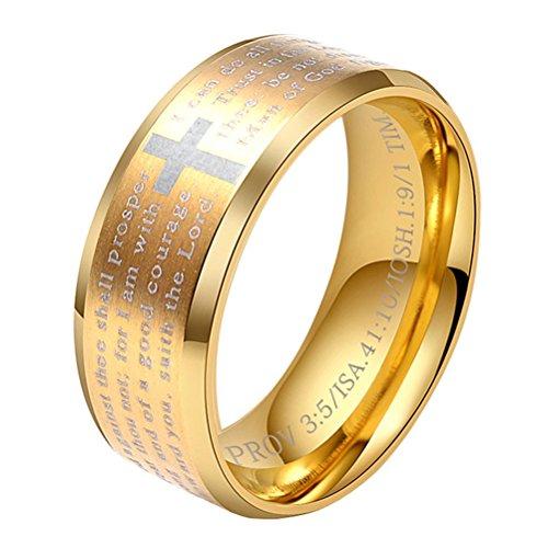 PHILIPPIANS 4:13 Mens Stainless Steel Christian Scripture Cross Ring Beveled Edge Prayer Ring, Gold Size 9 ()
