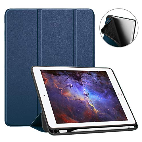 Fintie iPad 9.7 2018 Case with Built-in Apple Pencil Holder - [SlimShell] Lightweight Soft TPU Back Protective Stand Cover with Auto Wake/Sleep for Apple iPad 2018 9.7 Inch (6th Gen), Navy