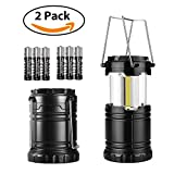 Hurricane Lantern Battery Powered 2 Pack Elekin Camping Lantern COB Led Lantern Survival Kit, Collapsible Outdoor light for Emergency, Hurricane, Storm, Power Outage, AAA Batteries Include(Black)