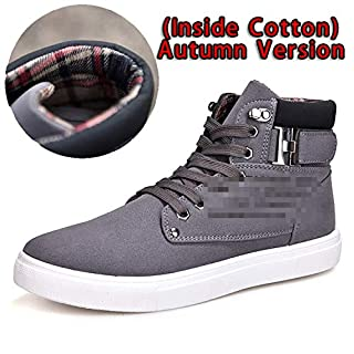 Fairy-Margot Men Shoes Front Lace-Up Casual Ankle Boots Autumn Shoes Men Wedge Fur Warm Leather Footwear,Gray,8 (B07K7F4K2P) | Amazon price tracker / tracking, Amazon price history charts, Amazon price watches, Amazon price drop alerts