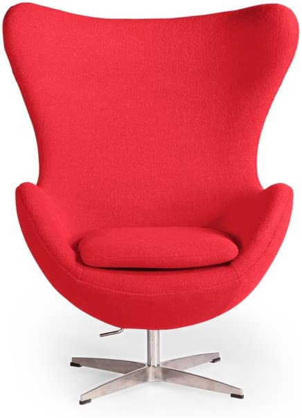Kardiel Egg Chair, Red Boucle Cashmere Wool