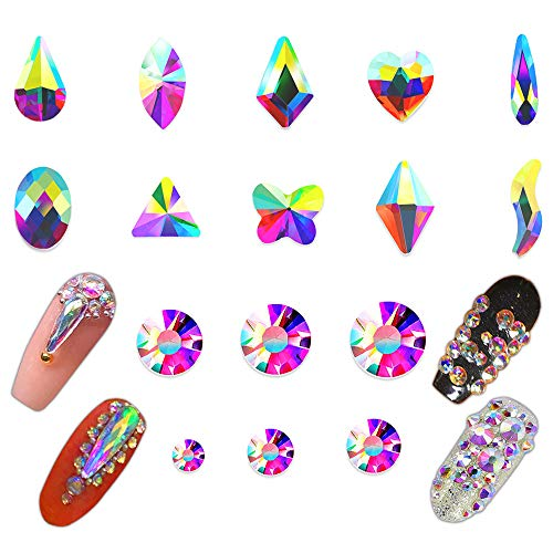 Round Bonded Glass Top Table - AB Crystal Nail Rhinestones Set 1780pcs, 3D Nail Art Round & Multi-Shape AB Glass Rhinestone Crystal Beads Nail Stones and Gems, Crystals Flatback Rhinestones for Nails, Clothes, Shoes, Face, Jewelry