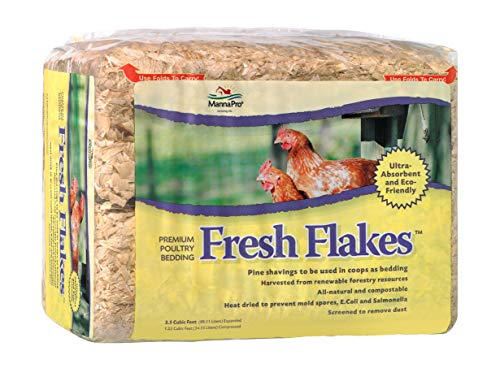 - Manna Pro 1000316 Chickens Fresh Flakes Pine Shavings Bedding, 3.5 Cubic Feet