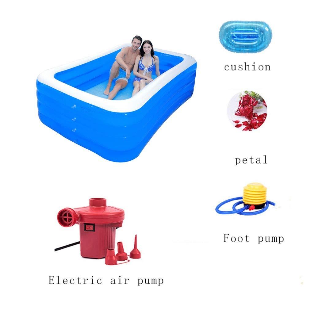 Soaking bath /& Ba/ñera para Adultos Familia de ba/ñera Inflable Plegable No Cubierta de ba/ñera Size : 210 * 150 * 75cm PVC Pl/ástico Doble Drenaje Ba/ñera Inflable Piscina Infantil