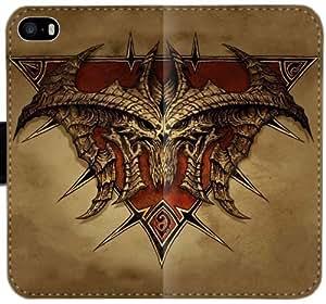 Diablo T6D8H Funda iPhone 6 6S Plus 5.5 caja de la carpeta de cuero Funda Flip Case u583F7 Genérico Teléfono funda Claro