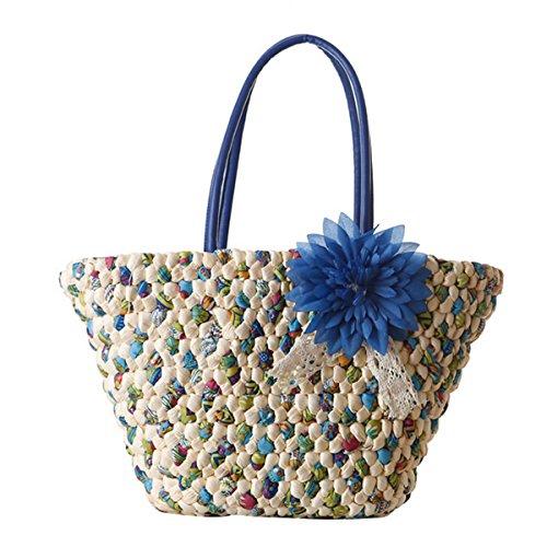 Butterme Borsa in Tote da Beach di estate Borsa a tracolla tessuta a mano di paglia con accento floreale per le ragazze delle donne Blu