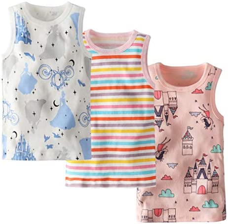 Little Girls' Princess Tanks Castle Top Stripe Vest Pack of 3 Size 3: Buy  Online at Best Price in UAE - Amazon.ae