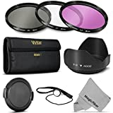 58MM Professional Lens Filter Accessory Kit (Vivitar Filter Kit (UV, CPL, FLD) + Carry Pouch + Tulip Lens Hood + Snap-On Lens Cap w/ Cap Keeper Leash + MagicFiber Microfiber Lens Cleaning Cloth)