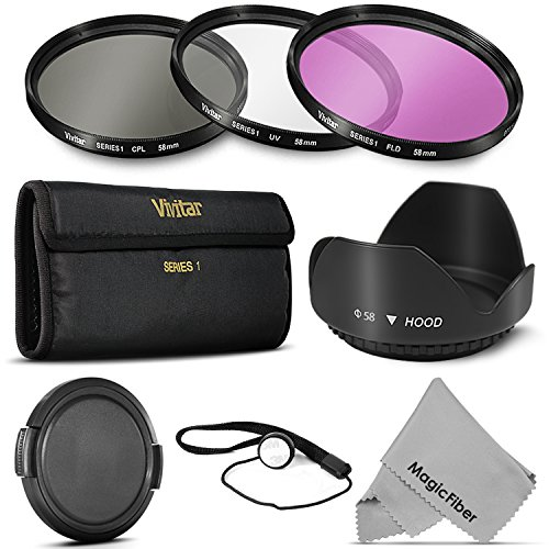 58MM Professional Lens Filter Accessory Kit (Vivitar Filter Kit (UV, CPL, FLD) + Carry Pouch + Tulip Lens Hood