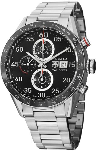 (Tag Heuer Carrera Black Dial Stainless Steel Automatic Chronograph Mens Watch)