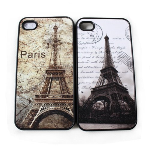 Zehui Couples / Lovers' Eiffel Tower Towel Back Case 2 Pcs Cover for Iphone 4 4g 4s