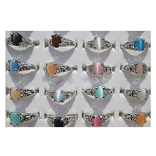 AIHIQI New Wholesale Lots 50/100PCS Mixed Colorful Finger Ring Jewelry (Amount=50pcs (No Box))