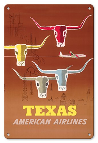 Pacifica Island Art 8in x 12in Vintage Tin Sign - Texas - Longhorns - American Airlines by Joseph Charles Parker