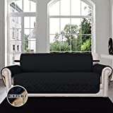 Easy-Going Sofa Covers, Slipcovers, Reversible Quilted Furniture Protector, Water Resistant, Improved Couch Shield with Elastic Straps, Anti-Slip Foams, Micro Fabric Pet Cover by (Sofa, Black/Beige)
