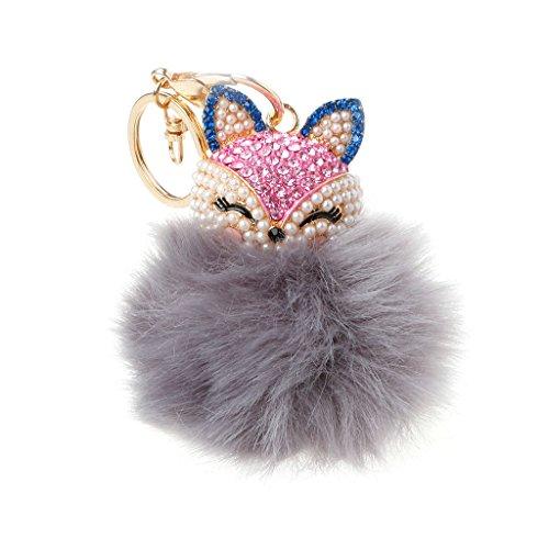 Susada Fox Head Shape Faux Rabbit Fur Pom Ball Mobile Phone Bag Pendant Key Ring Chain (Light - Shapes Women Head