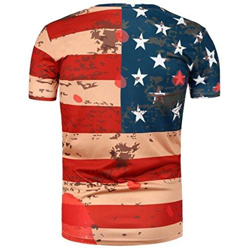vovotrade Brillante envejecido polvo bandera americana Hombres Mujeres Impresión Tees Camisa manga corta Blusa