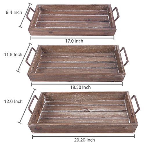 Distressed Wood Slat Nesting Breakfast Serving Trays w/ Antique-Style Metal Handles, Set of 3, Brown by MyGift (Image #4)