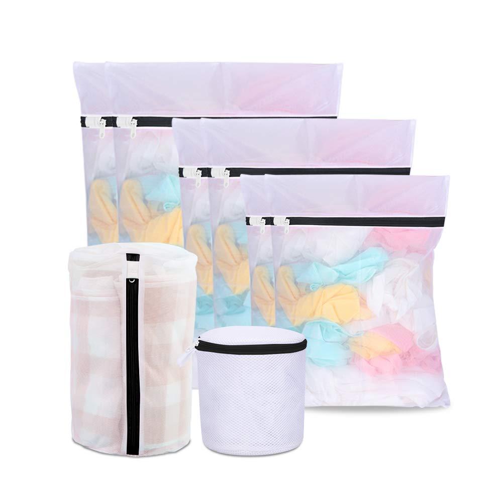 8 Pack Laundry Bags Washing Machine, Oladwolf Washing bags Mesh Zippered washing machine, 5 Sizes Reusable Net Washing Bags zip Delicates (white-2) 18053101-WH