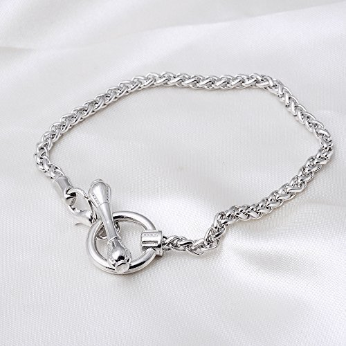 Elegant Toggle Clasp Link Chain Silver Charm Rolo Bracelet 18 CM 10 (Rolo Toggle)