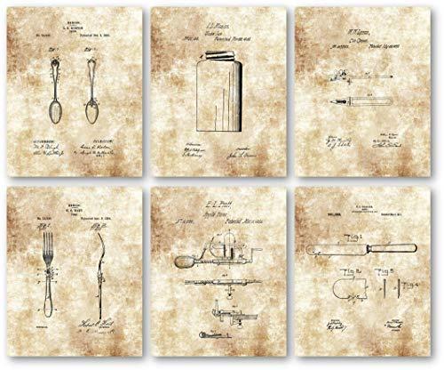 Ramini Brands Original Kitchen Patent Artwork - Set of 6 8 x 10 Unframed Prints - Great Gift for Bakers, Cooks - Vintage Kitchen Decor - Stunning Decor for Restaurants ()