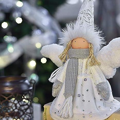 Wann Weihnachtsdeko.Victor S Workshop 18cm Textil Weihnachtsdeko Figuren Engel Weiße Sitzender Puppe Weihnachtsschmuck Gefrorener Winter
