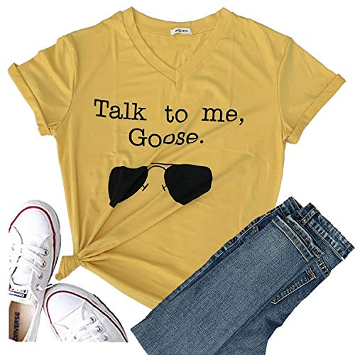 Women Talk to Me Goose Sunglasses Short Sleeve Graphic Tees Print Funny T Shirts Cute Casual Summer Tops for Mama Girl (XX-Large, Yellow)