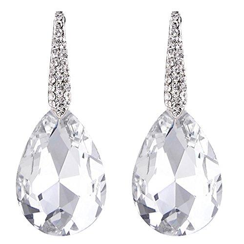 BriLove Wedding Bridal Dangle Earrings for Women Crystal Bold Teardrop Chandelier Earrings Silver-Tone Clear (Clear Crystal Earrings)