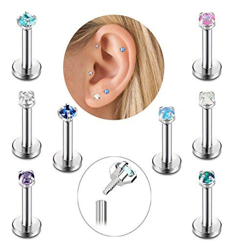 FIBO STEEL 8Pcs 16G Stainless Steel 2mm CZ Created-Opal Monroe Piercing Jewelry Cartilage Earring Tragus Helix Lip Piercing,6mm