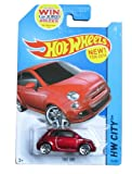 HOT WHEELS 2014 RELEASE RED FIAT 500 DIE-CAST COLLECTIBLE