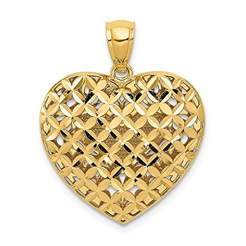Basketweave Chain Necklace - 14k Two-Tone Polished Sparkle-Cut Gold Filigree Basketweave Reversible Heart Pendant - Measures 25x20mm