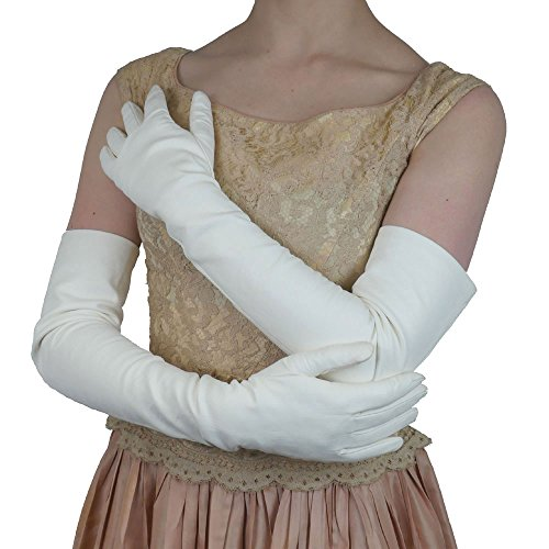 Opera Length Italian Leather Gloves. Lined in Silk. 16bt. By Solo Classe (M, White) by Solo Classe