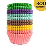 Lansian 300 Pcs Mini Paper Cupcake Holder Liners Wrappers Baking Cups Standard Disposable Baking Supplies (300-Count 6 Style Pure Color)